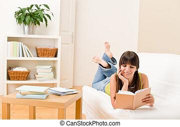 lire, -, livre, adolescent, étudiant, maison, girl