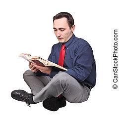 lire, livre, homme