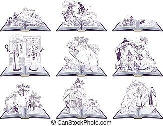 lire, livres, ensemble, fée, livre, conte, école, illustration., ouvert