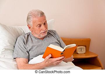 lire, maison, personne agee, livre, soins