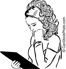 lire, menu, blond, thumbnail, soigneusement