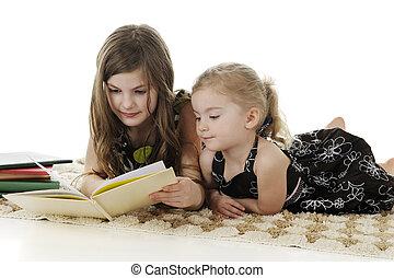 lire, peu, grande soeur, soeur