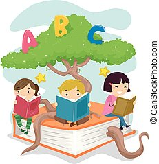 lire, stickman, gosses, arbre, livre