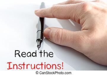 lire, texte, concept, instructions