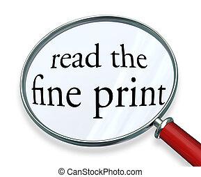 lire, verre, mots, impression, amende, magnifier