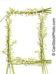 lirio del valle, flores, en, papel, marco, frontera, aislado, plano de fondo