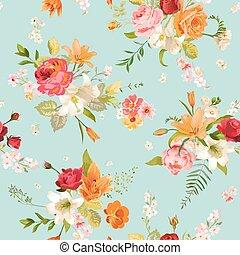 lirio, y, orquídea, flores, seamless, fondo., patrón floral, en, vector