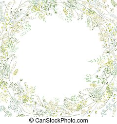 lirios, cuadrado, saludo, estilizado, hierbas, tarjeta, floral, valley.