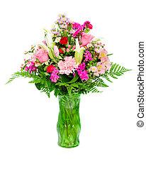 lis, arrangement fleur, roses