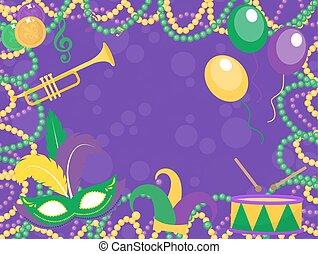 lis, aviateur, farceur, drama., masques, carnaval, trompette, fleur, chapeau, perles, gabarit, vecteur, illustration, comédie, mardi, graisse, invitation., affiche, gras, tambour, de, arrière-plan., masque, mardi