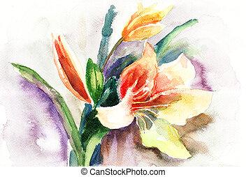 lis, beau, fleurs