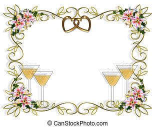 lis, floral, invitation mariage
