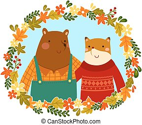 lis, przyjaciele, niedźwiedź