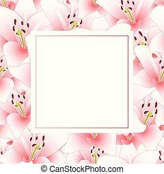 lis rose, fleur, bannière, carte