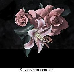 lis, rose, vendange, floral, sombre, roses, fond