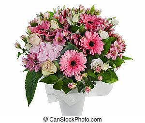 lis, roses, coloré, bouquet, isolé, arrangement, milieu de table, fond, floral, blanc, vase, orchidées