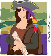 lisa, pirate, mona