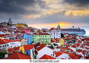 lisboa, alfama, skyline, portugal