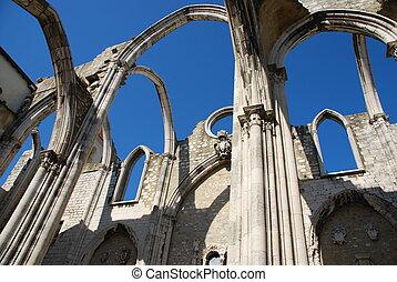 lisboa, carmo, ruinas, portugal, iglesia
