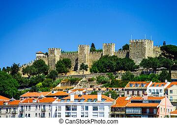 Lisboa bird-fly view. Portugal. Summer sunny day.