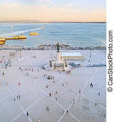 lisboa, comercial, square., portugal, gente