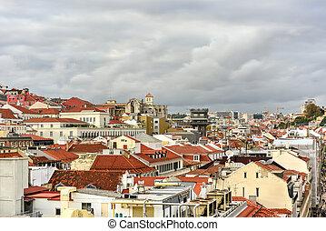 lisboa, contorno, -, portugal