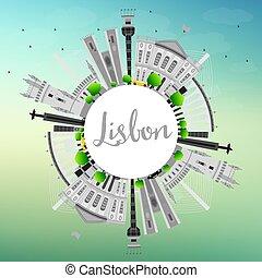 lisboa, perfil de ciudad, con, gris, edificios, y, copia, space.