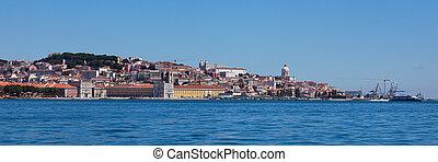 lisboa, portugal, panorámico, viejo, vista