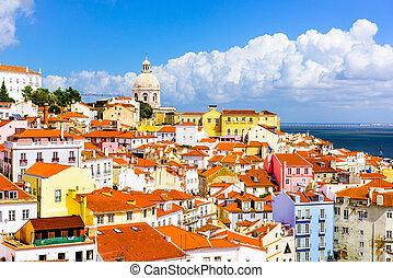 lisboa, pueblo, viejo, portugal