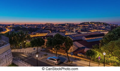 Lisbon aerial cityscape skyline night to day timelapse from ...