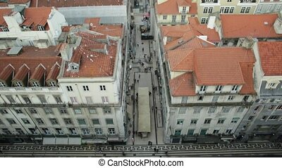 Lisbon aerial view - Aerial view tilt of Lisbon downtown and...