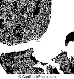 Lisbon Area Vector Map, Artprint. Black Landmass, White...