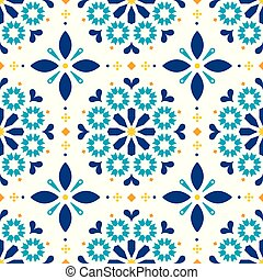 Lisbon Azulejos tiles seamless vector pattern - Portuguese retro old tile mosaic, decorative design in turqouoise and yellow