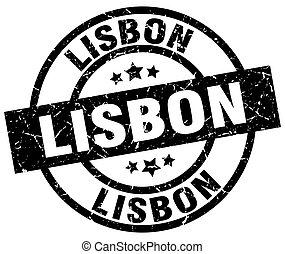 Lisbon black round grunge stamp