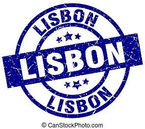 Lisbon blue round grunge stamp