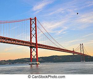 Lisbon bridge on sunset