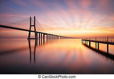 Lisbon bridge - Vasco da Gama at sunrise, Portugal