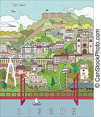 Lisbon City Poster in editable vector file