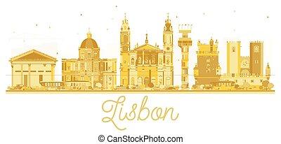 Lisbon City skyline golden silhouette.