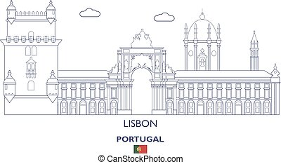 Lisbon City Skyline, Portugal - Lisbon Linear City Skyline,...