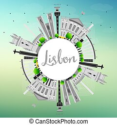 Lisbon City Skyline with Gray Buildings and Copy Space.