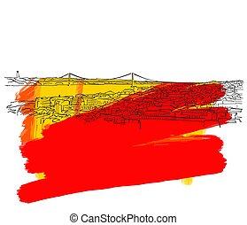 Lisbon Colorful Skyline Banner. Beautiful hand drawn vector...