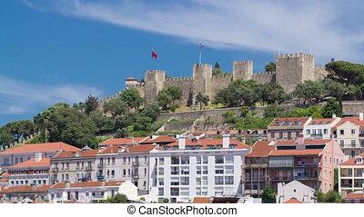 Lisbon fortress of Saint George view, Portugal Castelo de Sao Jorge, timelapse