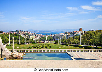 Lisbon landmark, aerial view of praca or square Marques de...