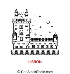 Lisbon Landmark Vector Illustration