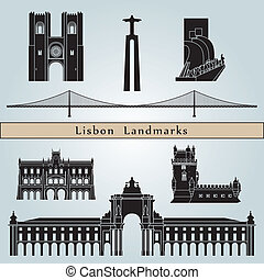 Lisbon landmarks and monuments isolated on blue background in editable vector file