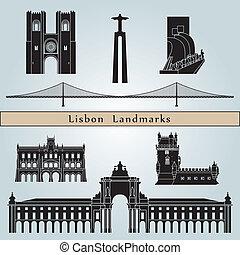 Lisbon landmarks and monuments isolated on blue background...