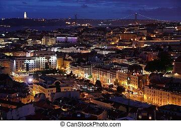Lisbon night city