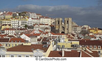 Lisbon Panorama. Aerial view. Lisbon is the capital and the...