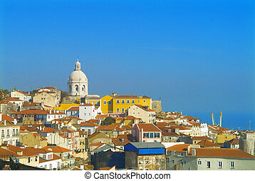 lisbon - panorama by blue sky
